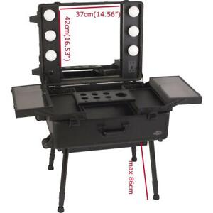 Professional Makeup Station Artist Rolling Case LED Lighted Mirror Organizer #300038