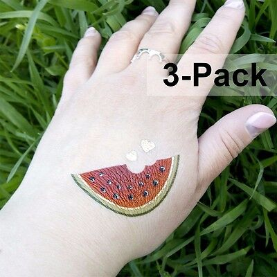 Watermelon Temporary Tattoos for Summer Fruit Tattoo 3 Pack for Women