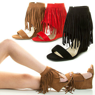 Ankle Cuff Pumps - New Open Toe Fringe Tassel Cuff Ankle Zipper Wedge High Heel Pump Sandal Booties