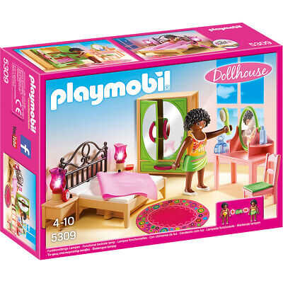 Playmobil Dollhouse Master Bedroom with Light-Up Nightstands & Figure - 5309
