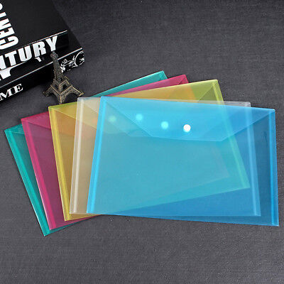 Plastic A4-Paper Expanding File Folder Pocket Document Organizer Envelope Office - Plastic Folders