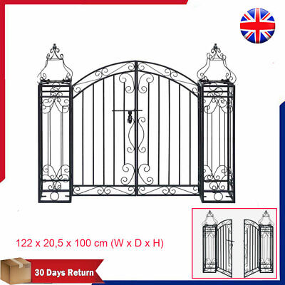 Ornamental Garden Gate Wrought Iron Metal Rose Trellis Arch Archway Door Black
