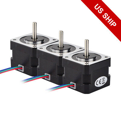 Free Ship 3pcs Nema 17 Step Motor 37oz.in 0.4a 12v 3d Pinter Cnc Hobby