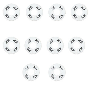 10 Pc Xs X-small White Round Clothing Rack Size Dividers Plastic Hangers Ring