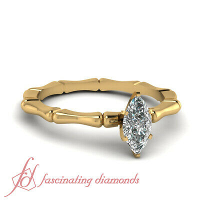 .50 Ctw Single Marquise Cut D-Color Diamond Yellow Gold Bone Design Wedding Ring