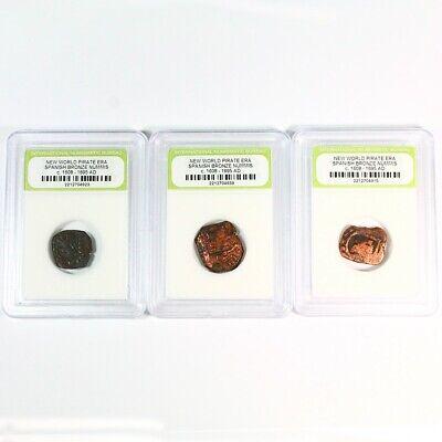 3 Pirate Era - Early America Spanish Bronze Cobs c. 1600's