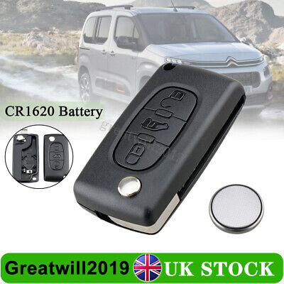3 Button Key Fob Shell VA2 & Battery Fit Citroen Berlingo Peugeot Partner Van