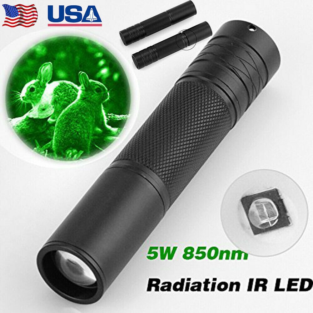 5W 850nm LED Infrared IR Flashlight Torch 18650 Zoomable Lam