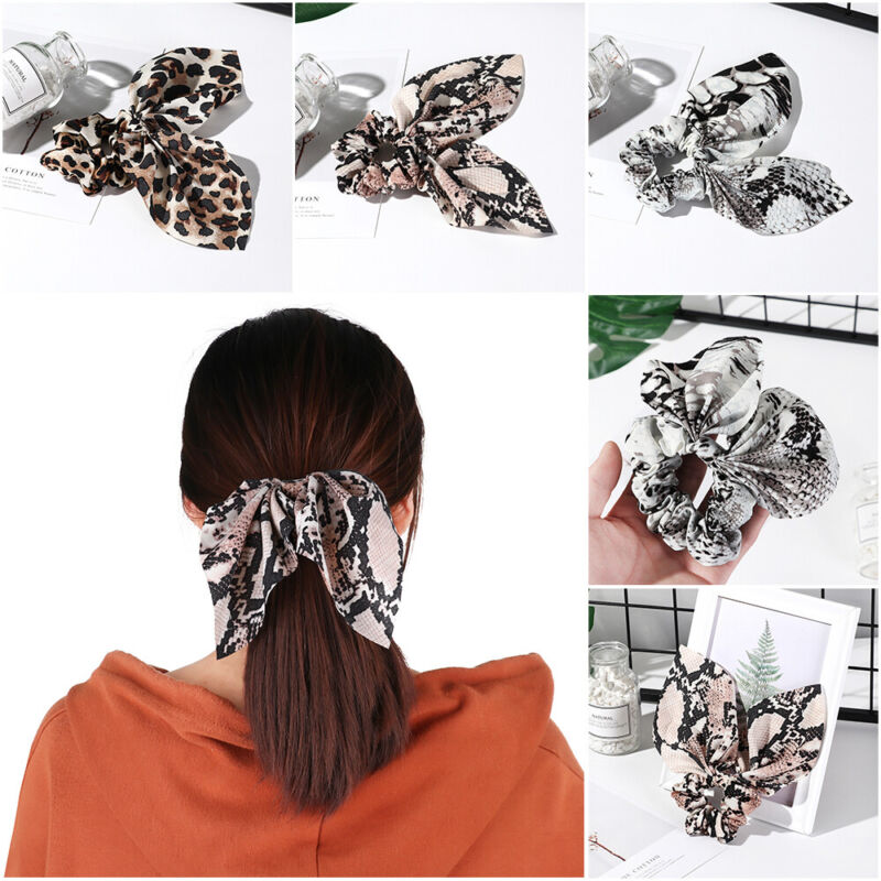 Print Bunny Ears Snake Headbands Hair Rope Bands Bow Scrunchies Hair Ties