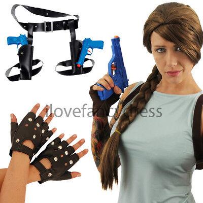 BROWN PLAIT WIG BIKER GLOVES GUNS & HOLSTERS - Fancy Dress Gun Holster