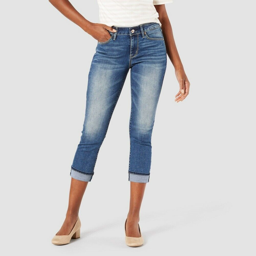 DENIZEN from Levi's Women's Mid-Rise Cropped Jeans- Stunner Blue 8 Clothing, Shoes & Accessories