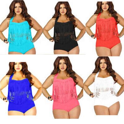 Women Plus SizeMacrame Swimsuit 2Piece S~3XL Tassel Top High Waist Boy Short (Two Piece Short Swimsuit)