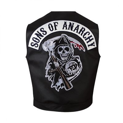 New Mans Black Embroider SOA Sons Leather Vest Jacket For Bike Riders Costume](Soa Costume)