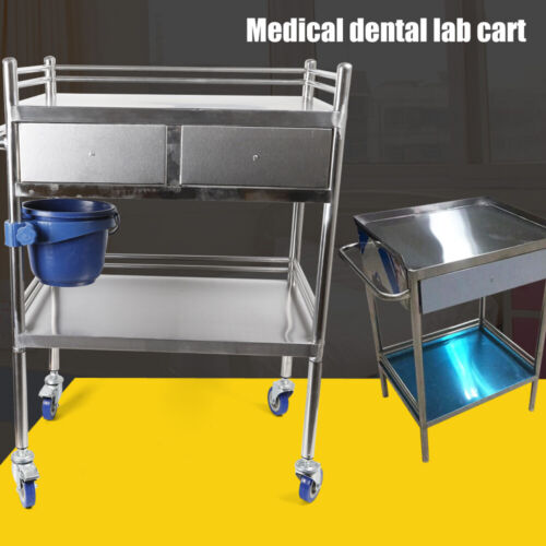 2 Layers Stainless Steel Hospital Medical Dental Lab Trolley Cart & Drawer