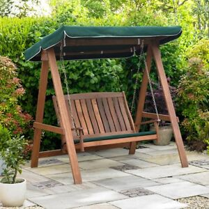 GARDEN SWINGING WOODEN BENCH OUTDOOR PATIO 2 SEATER WOOD CHAIR CANOPY SEAT PAD