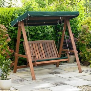 Charmant GARDEN SWINGING WOODEN BENCH OUTDOOR PATIO 2 SEATER WOOD CHAIR CANOPY SEAT  PAD