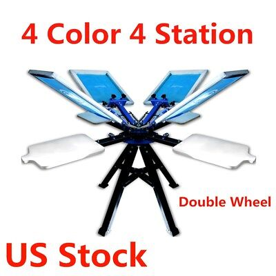 Us-4 Color 4 Station Screen Printing Machine T-shirt Printer 2 Wheel Equipment
