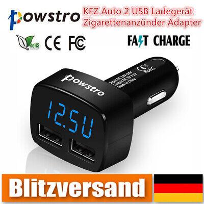 Voltmeter Zigarettenanzünder KFZ mit LED Spannunganzeige 2x USB Auto ladegerät