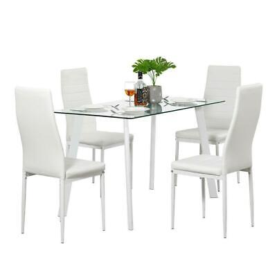 Lot 5 Top Dining Set Glass Table and 4 Leather Chair for Kitchen Dining Room NEW