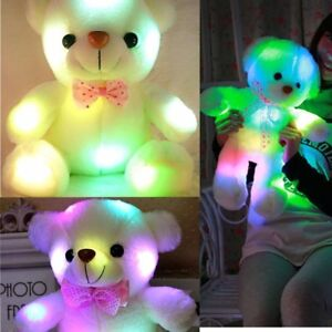 Soft Cuddly Teddy Bear Glow Blowing in Night Color Changing Night Light NE8