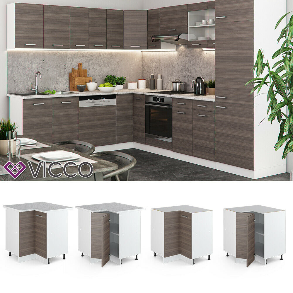 VICCO Küchenschrank Hängeschrank Unterschrank Küchenzeile R-Line Eckunterschrank 87 cm edelgrau