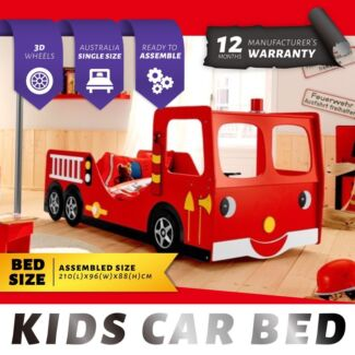 New Kids Boys Single Racing Car Bed Frame Red 2072mm Beds