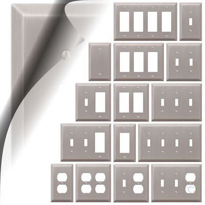 Switch Plate (Switch Plate Cover Century Brushed Nickel Metal Wallplate Toggle Outlet Rocker )