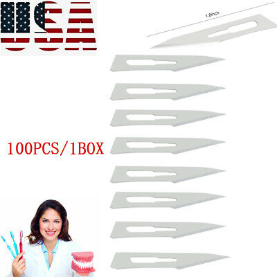100pcs Dental 11 Surgical Stainless Steel Scalpel Blades Knife Blade Device Usa