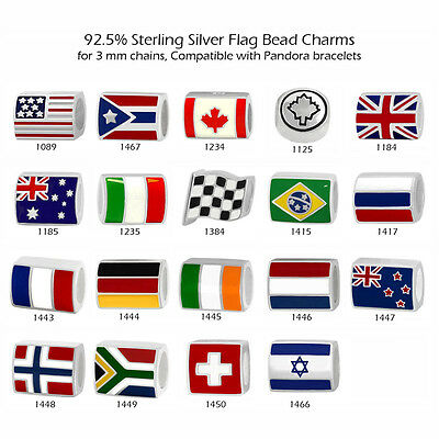 - Flag Theme 925 Sterling Silver Beads for European Charm Bracelet Necklace