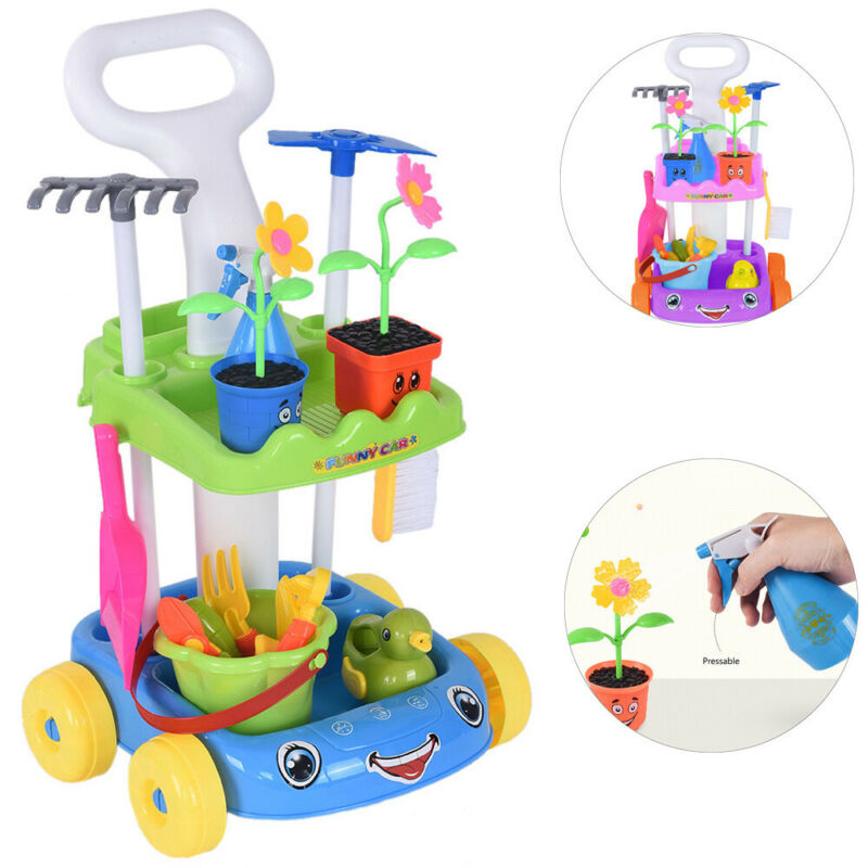 Pretend Play Set Potted Plants & Tool Cart Trolley Kids Toy