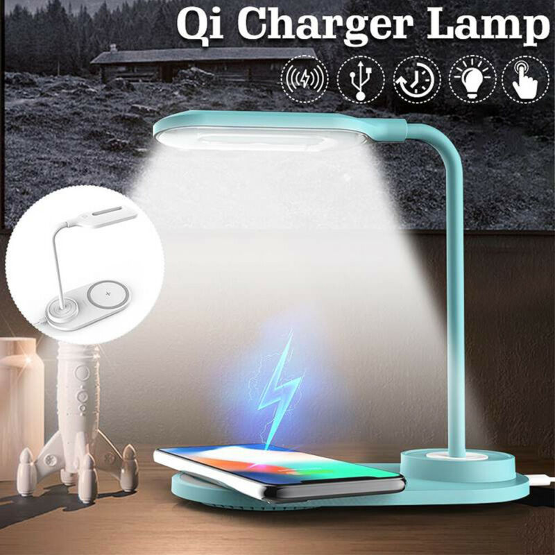 LED Charge Table Desk USB Lamp w/ QI Wireless Phone Charger