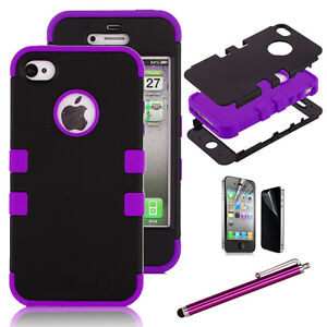 Pen+ Hybrid Rugged Rubber Matte Hard Case Cover For iPhone 4G 4S w/ Screen Guard