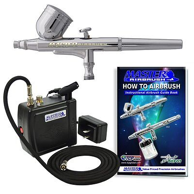 (Master Gravity Feed Airbrush Kit with Mini Air Compressor, Hobby Craft Art Cake)
