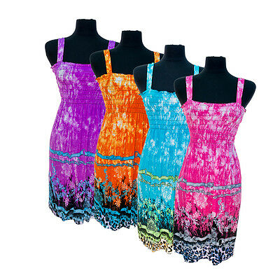 4 Pack: Women's Tie Dye Patterned Sundresses