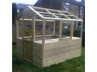 8x6 Wooden Greenhouse (Pressure Treated) With Twin Wall Glazing 8FT x 6FT