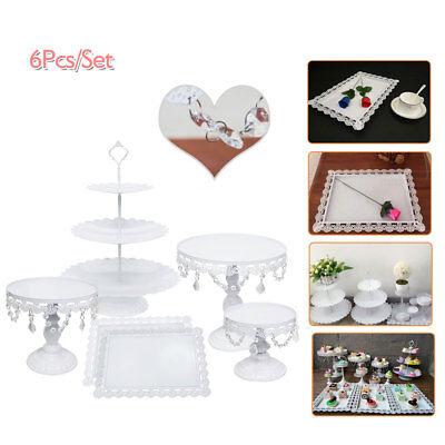 6pcs Gorgeous Crystal Cake Holder Wedding Dessert Stand Set Metal Cupcake Plates