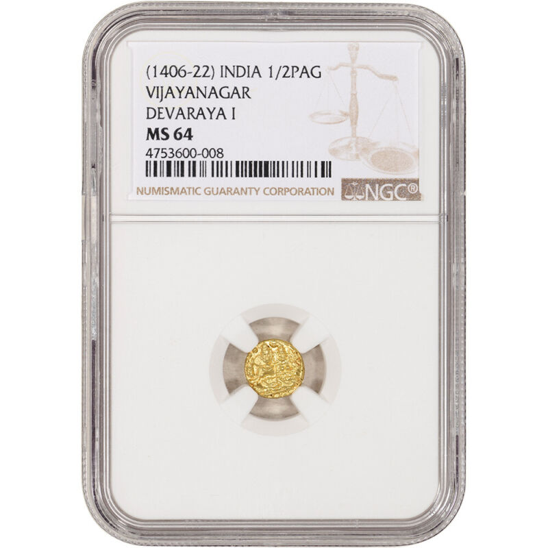 (1406 - 22) India Gold 1/2 Pagoda - Vijayanagar - Devaraya I - NGC MS64