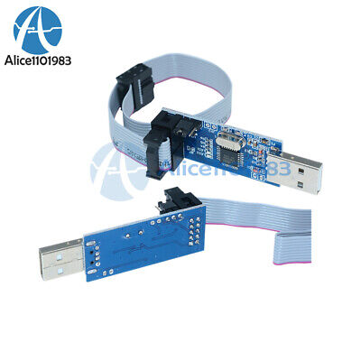 2pcs Usb Atmega8 Atmega128 Usbasp Usbisp Avr Programmer Adapter 10 Pin Cable