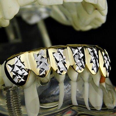 14K Gold Plated Grillz w/ Silver Diamond-Cut 2-Tone 6 Bottom Row Teeth Grills 2 Tone 14k Gold Plated