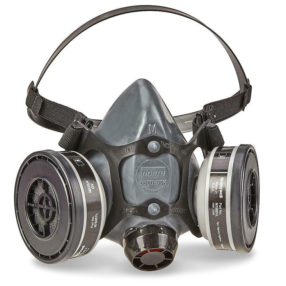 North 5500-30M Half Face Respirator W/ 1 PR. N75001L OV Cartridge, Size: MEDIUM Business & Industrial