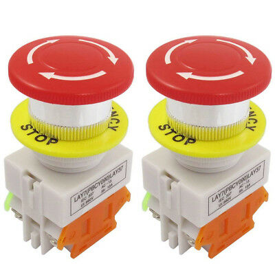 2pcs Emergency Stop Push Button 660v Switch Red Sign Self Locking Mushroom 78