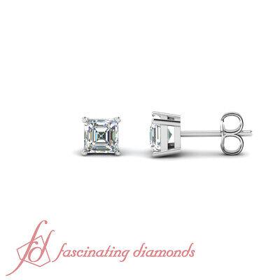1.90 Carat Asscher Cut Diamond Solitaire Stud Earrings FLAWLESS In 14K GIA