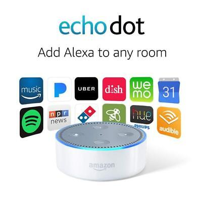 AMAZON ECHO DOT (2nd Generation) WITH ALEXA SMART ASSISTANT - WHITE - NEW SEALED