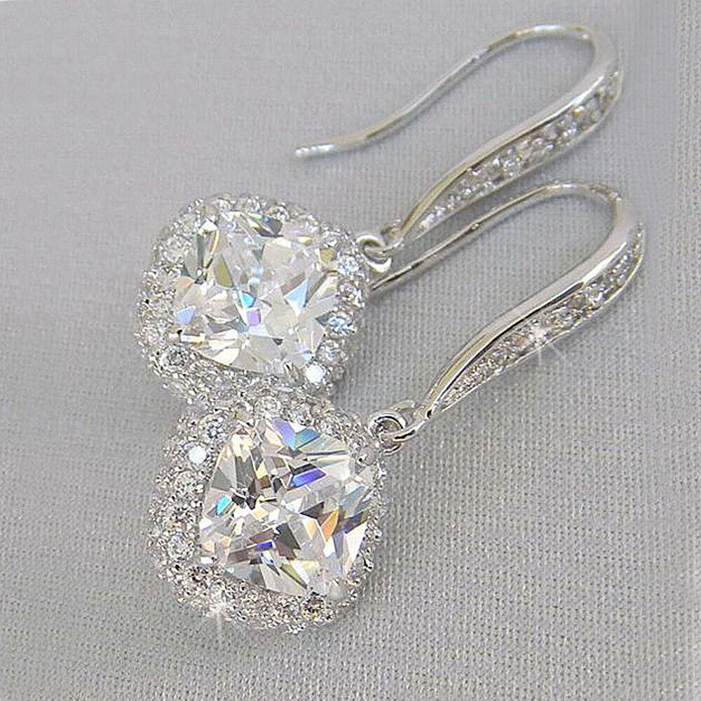 Jewellery - Elegant 925 Silver Drop Earrings for Women White Sapphire Jewelry A Pair/set