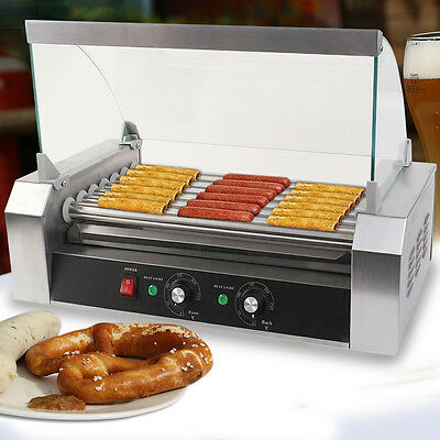 New Commercial 18 Hot Dog Hotdog 7 Roller Grill Cooker Machine Wcover Stainless