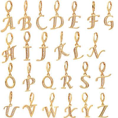 Women Gold Plated Cubic Zirconia CZ English Letters Drop Earrings (Gold Cubic Zirconia Drop)