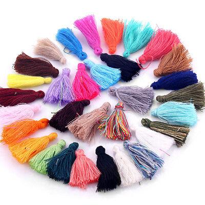Diy Tassel Necklace (100x Multicolor Cotton Tassels Charm Pendant DIY Earrings Bracelet Necklace)