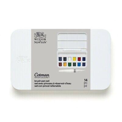 Water Color Set ( Winsor & Newton Cotman Watercolors Brush Pen Set - 12 Half Pans)