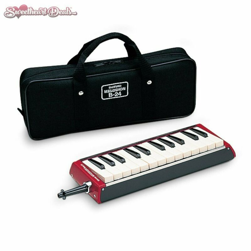 Suzuki B-24 Bass Melodion 24 Keys with Case and Mouthpiece Red