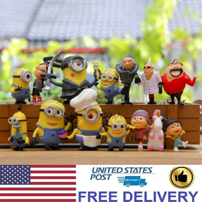 14 Pcs Despicable Me Small Minion Action Figure Cake Topper Kids Gift Doll Toys